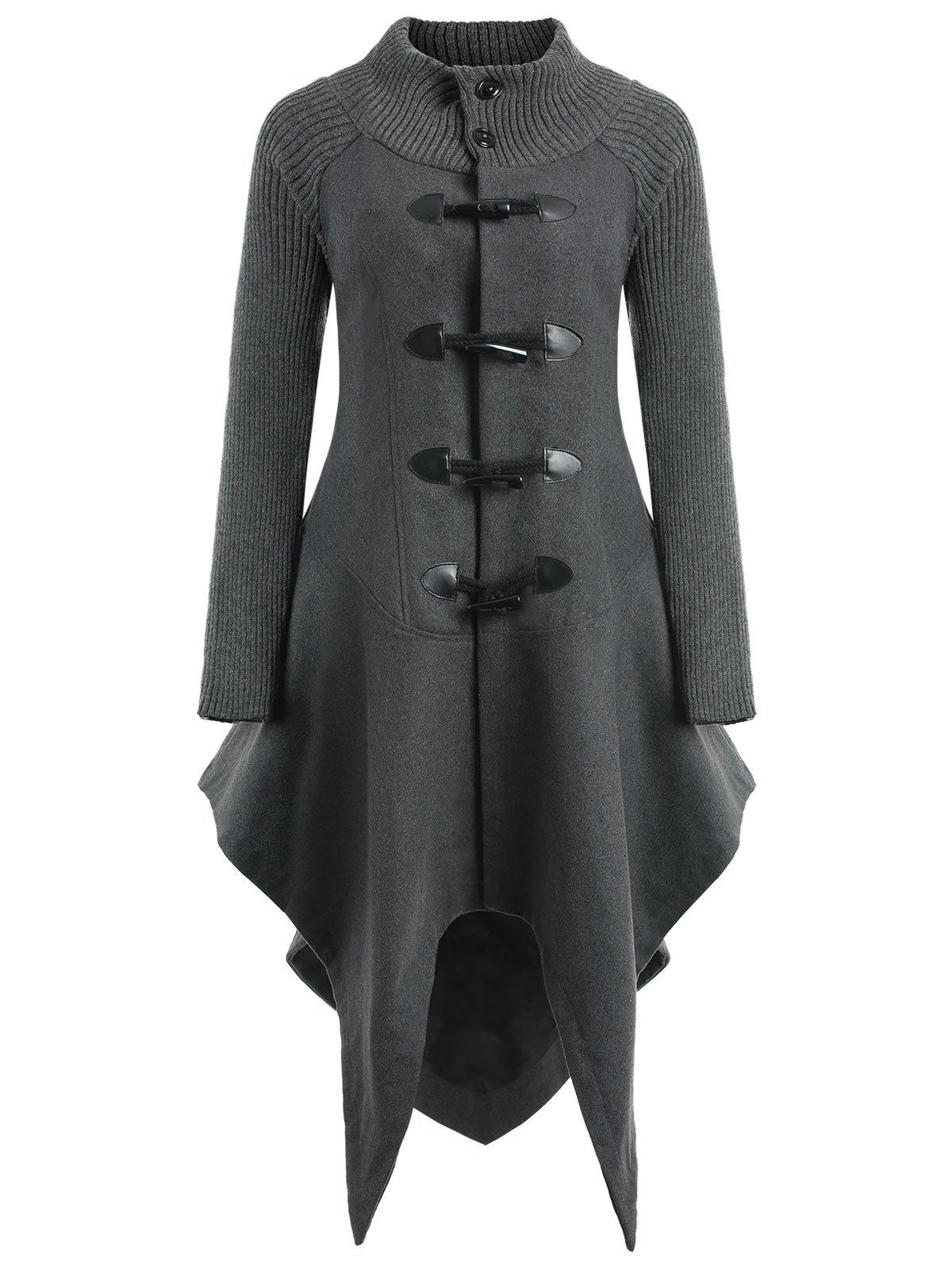 Horn Button Handkerchief Wool Coat - DARK GREY XL
