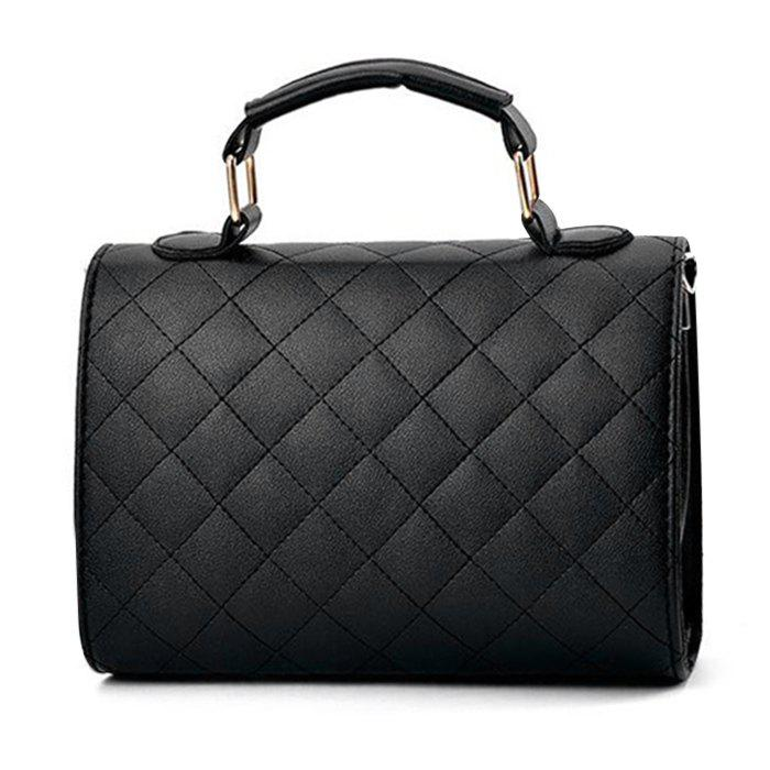 Quilted Flap Twist Lock Handbag - BLACK