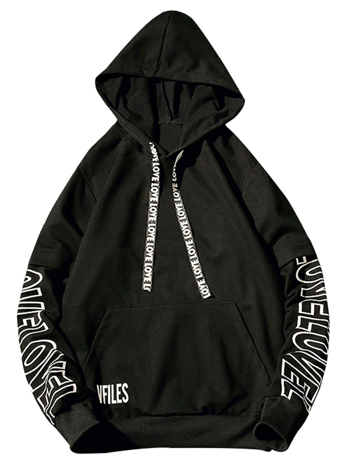Letter Print Drawstring Pullover Graphic Hoodie - BLACK L