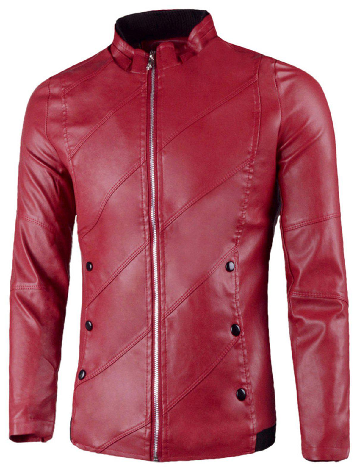 Flap Button Embellished Zip Up Faux Leather Jacket - RED 2XL