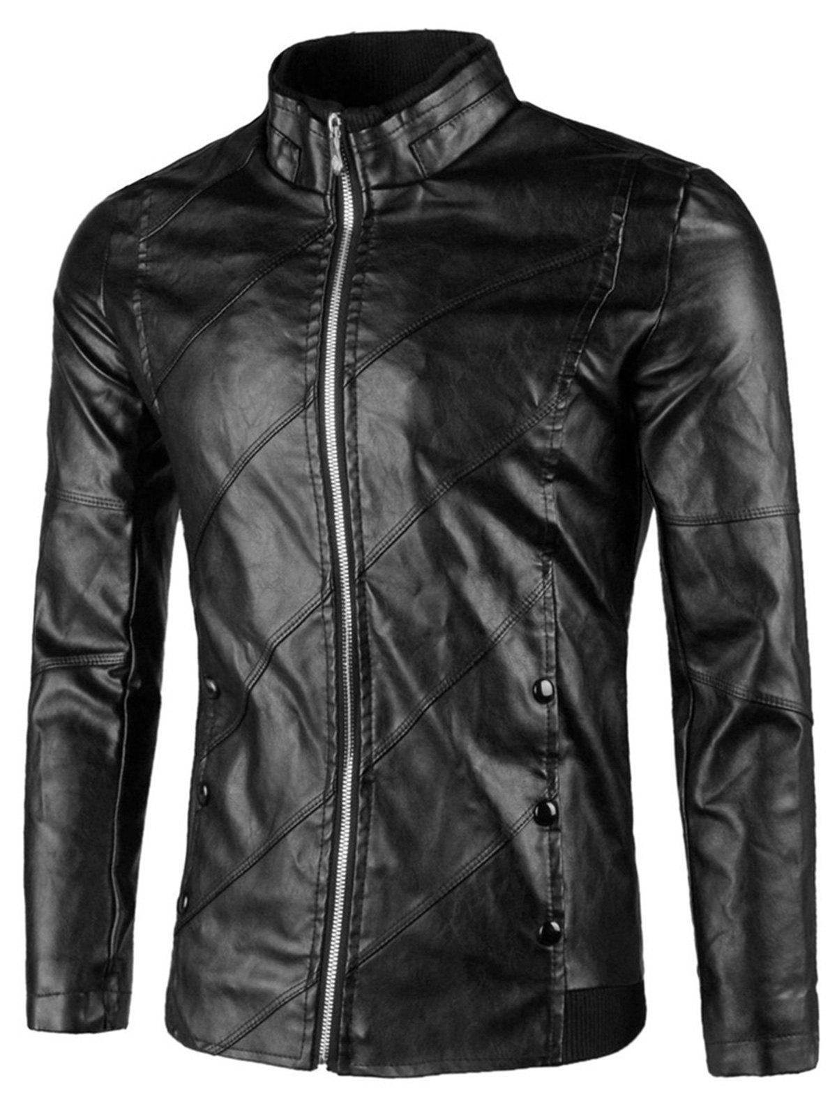Flap Button Embellished Zip Up Faux Leather Jacket - BLACK XL