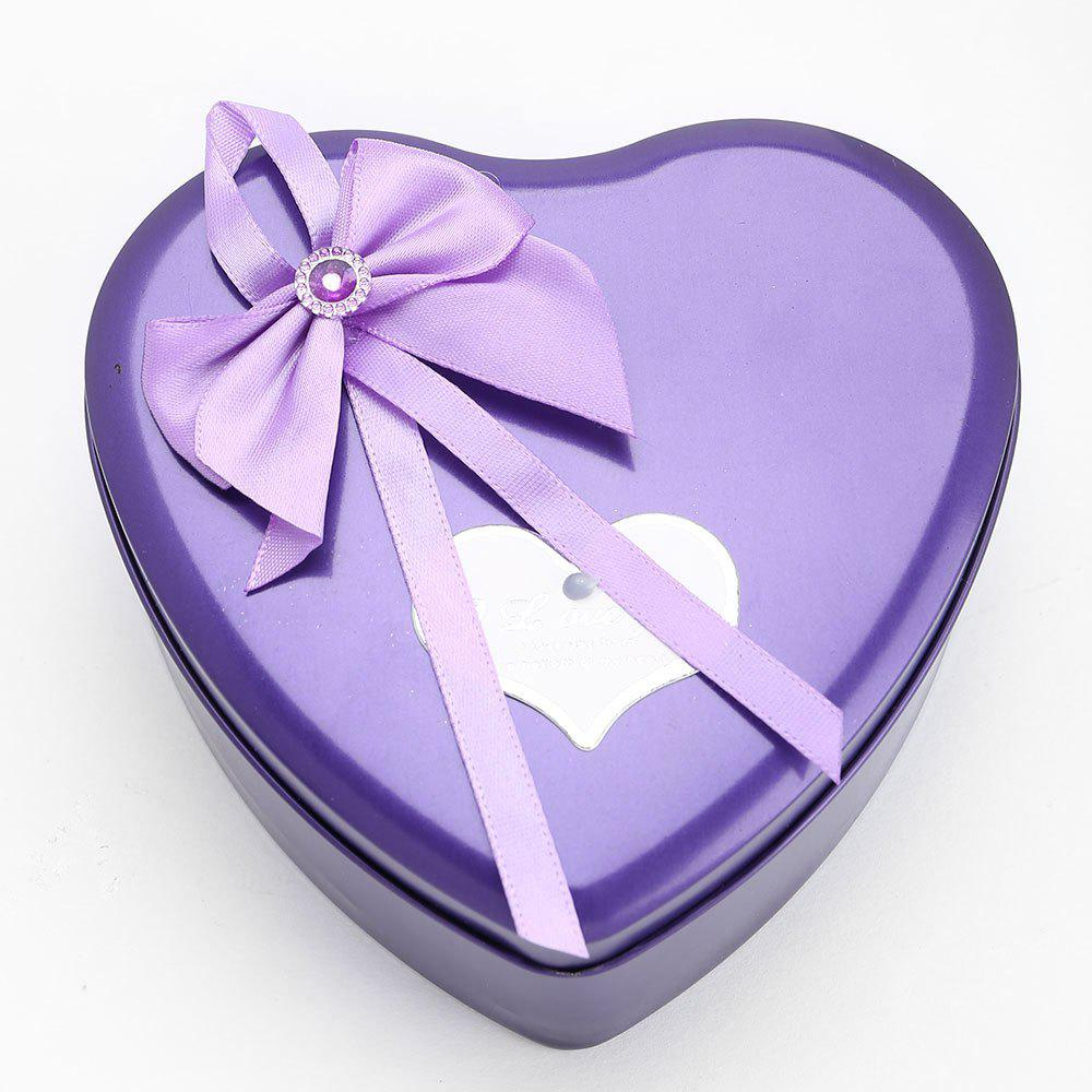 3PCS Soap Roses Flowers and 1PC Bear in a Iron Box Valentine's Day Gift - PURPLE 12*11*5CM