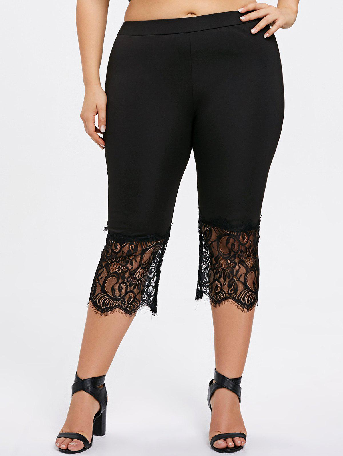 Plus Size Lace Panel Capri Pants - BLACK XL