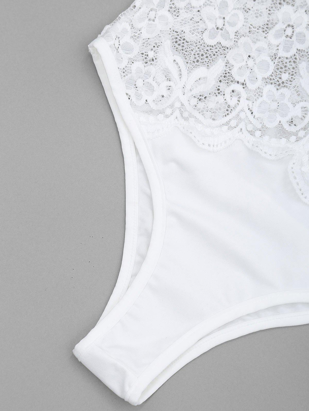 Plunge Sheer Lace Bodysuit - WHITE S