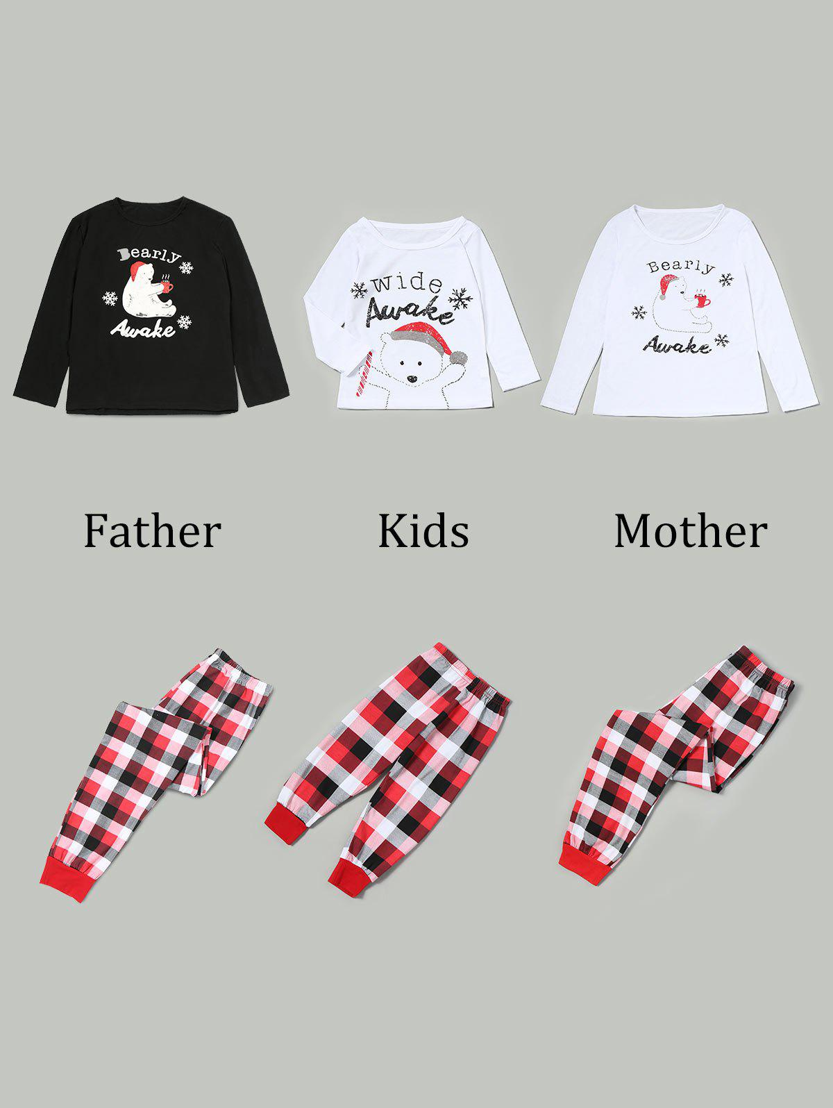 Bear Tartan Matching Family Christmas Pjs Set - RED KID 110