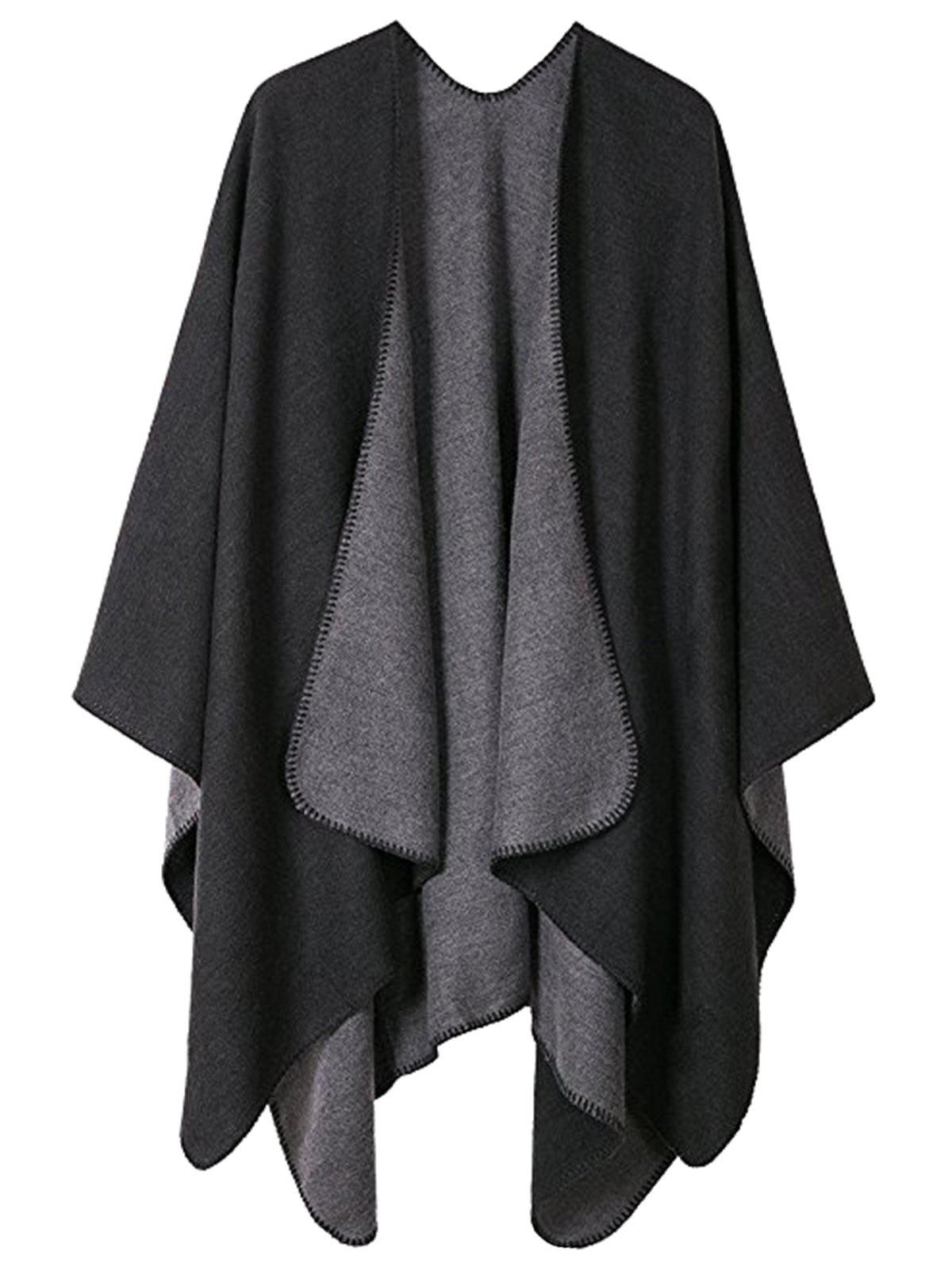 Plus Size Collarless Drap Front Poncho - BLACK ONE SIZE