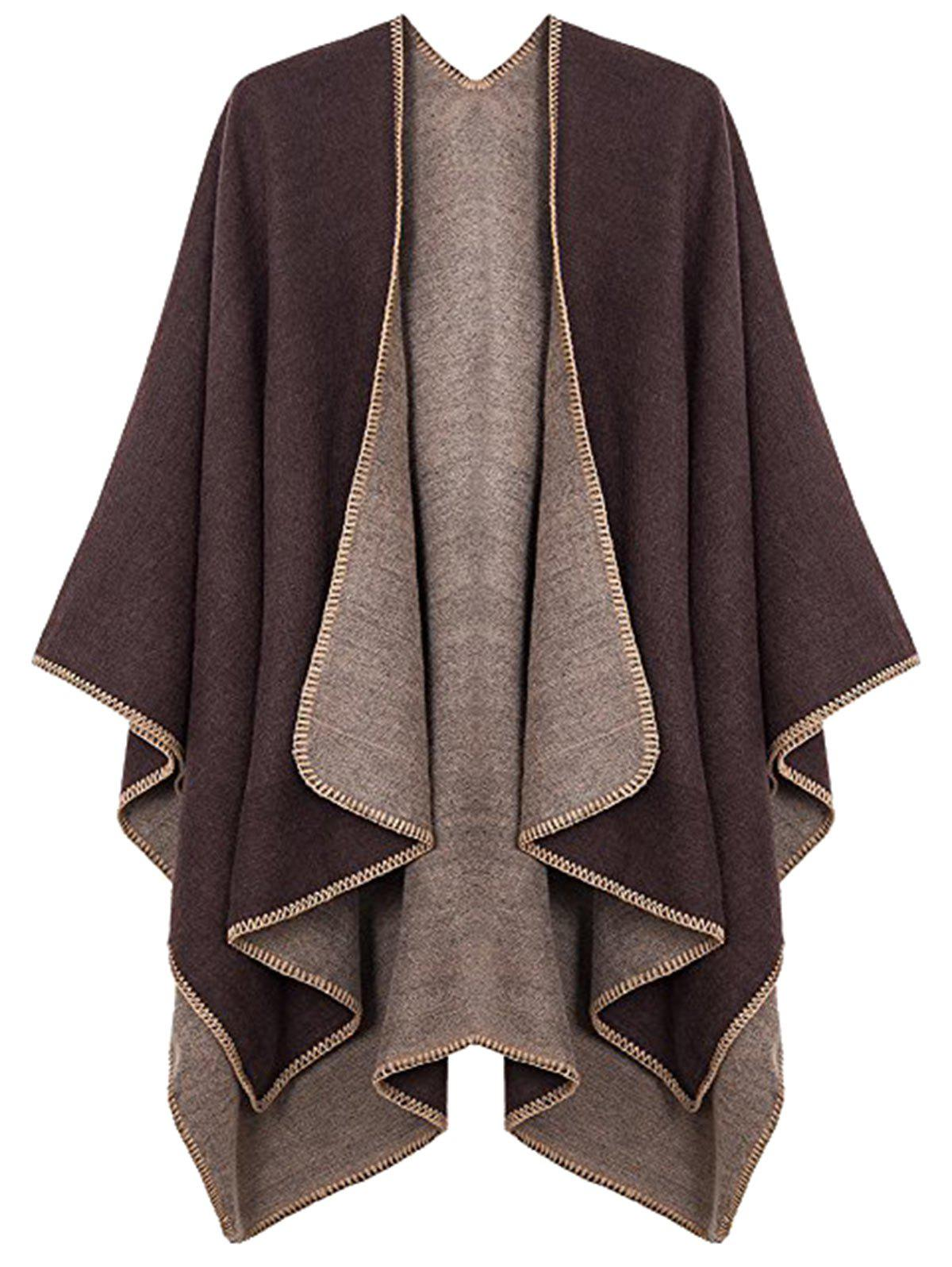 Plus Size Collarless Drap Front Poncho - COFFEE ONE SIZE