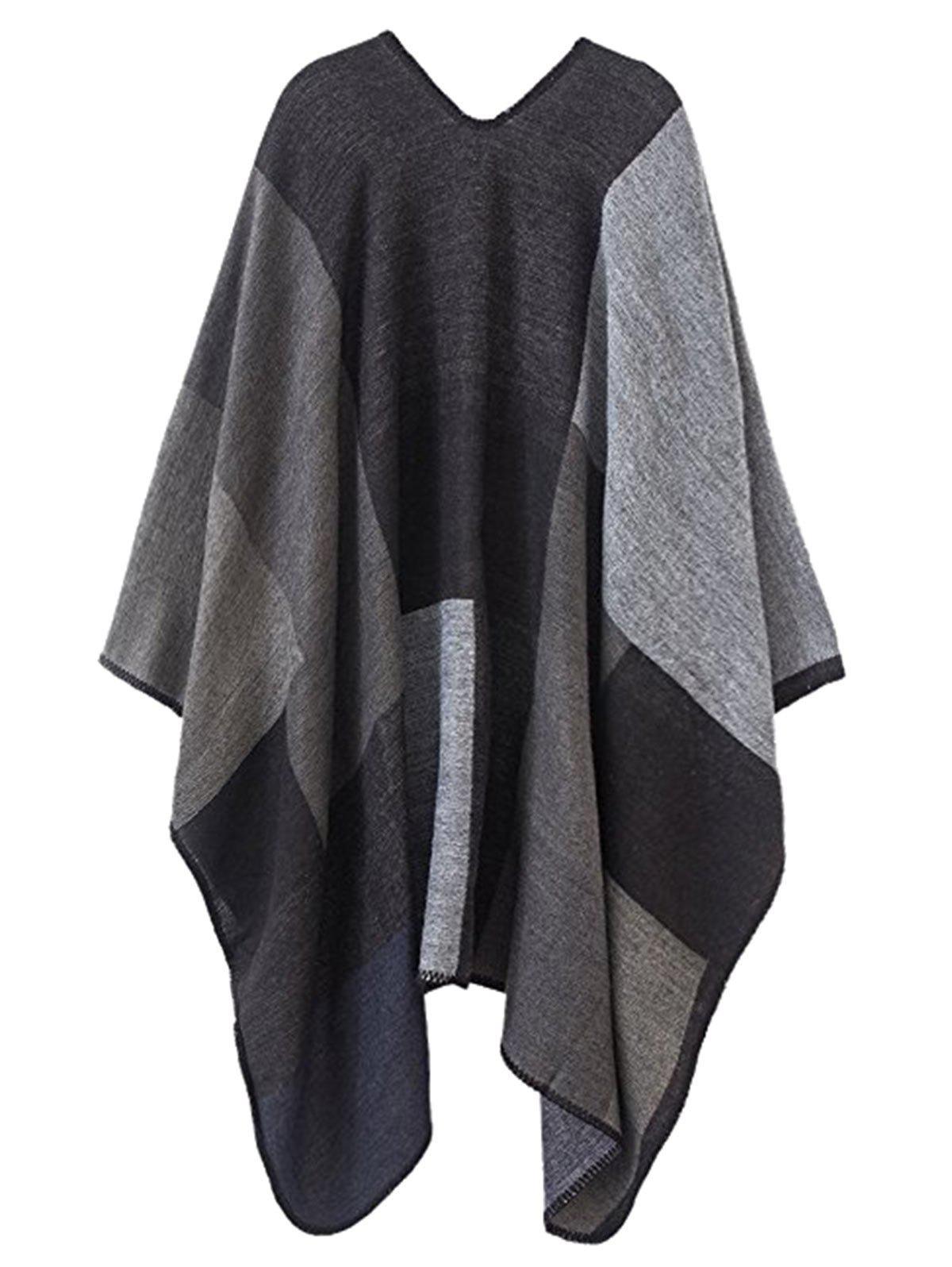 Plus Size Collarless Color Block Poncho - GRAY ONE SIZE