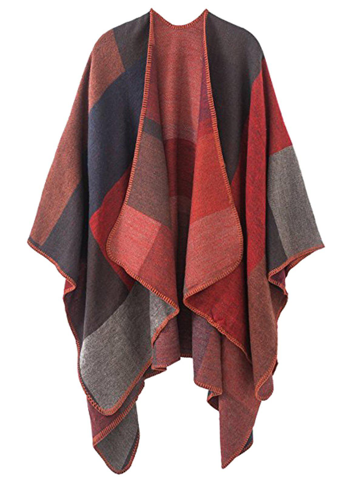 Plus Size Collarless Color Block Poncho - RED ONE SIZE