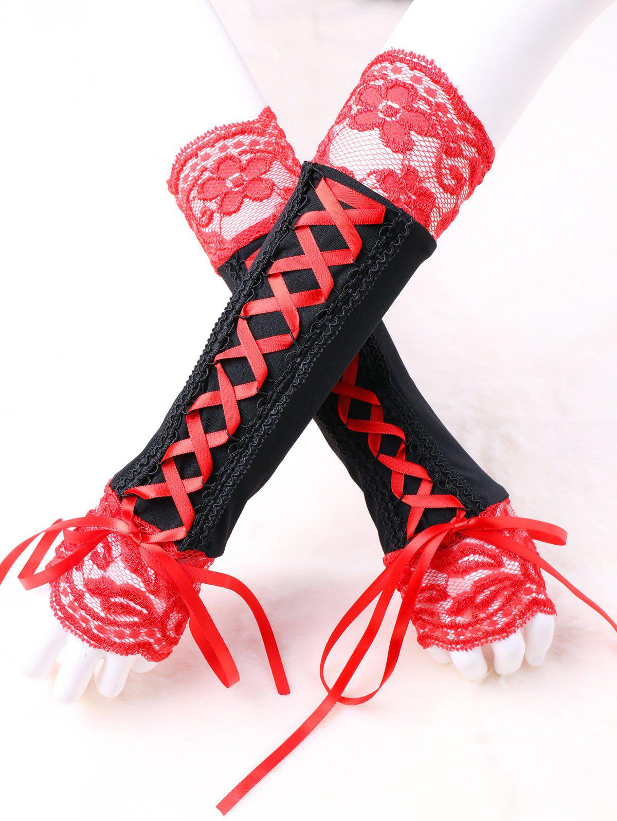 Fingerless Lace Up Arm Warmer - RED/BLACK M