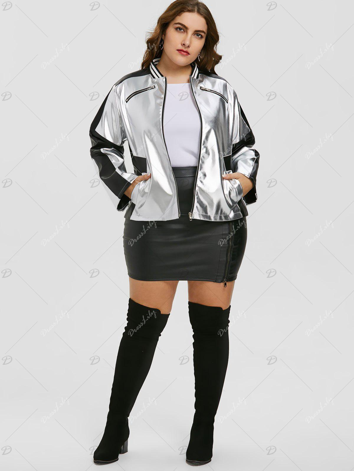 Plus Size Zipper Faux Leather Panel Jacket - SILVER/BLACK 4XL