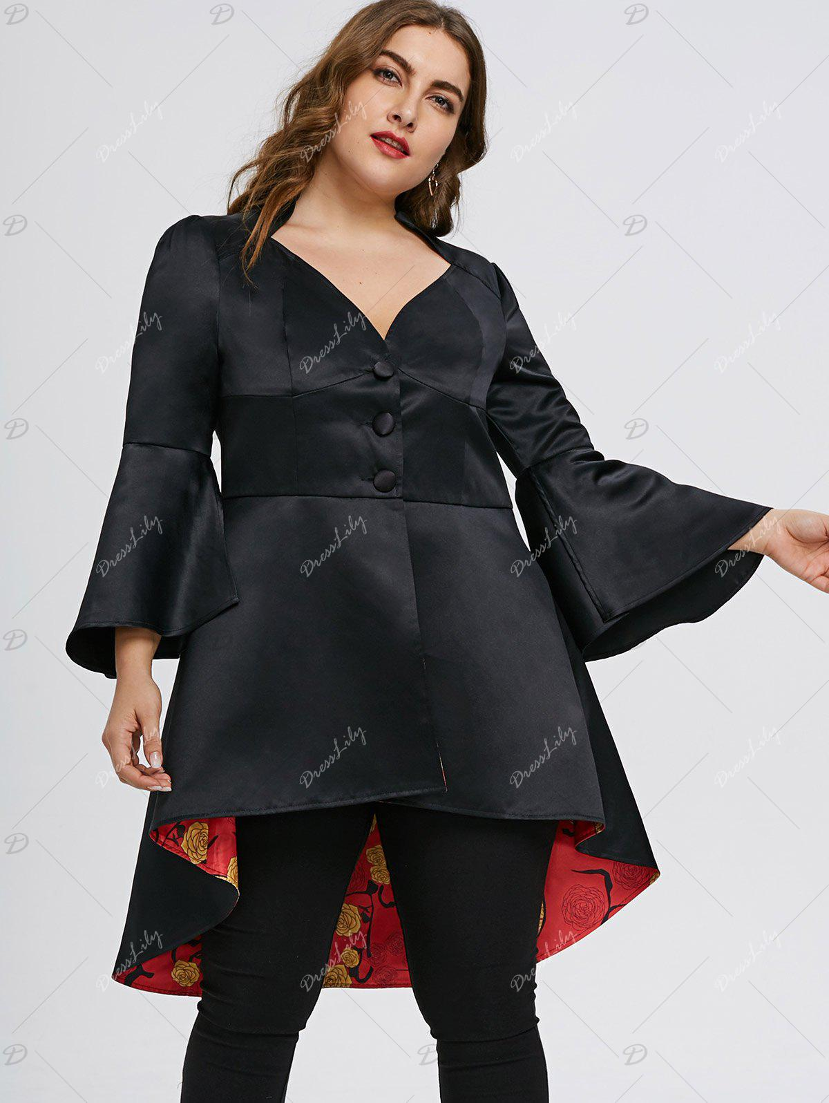 Plus Size High Low Lace Up Skirted Coat - BLACK 2XL