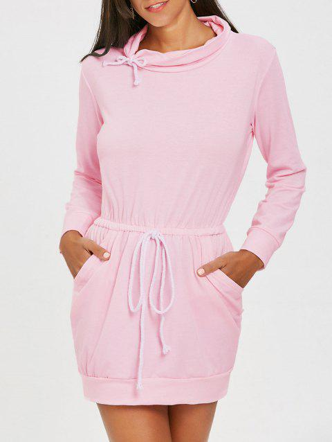 Drawstring High Neck Mini Dress - PINK XL