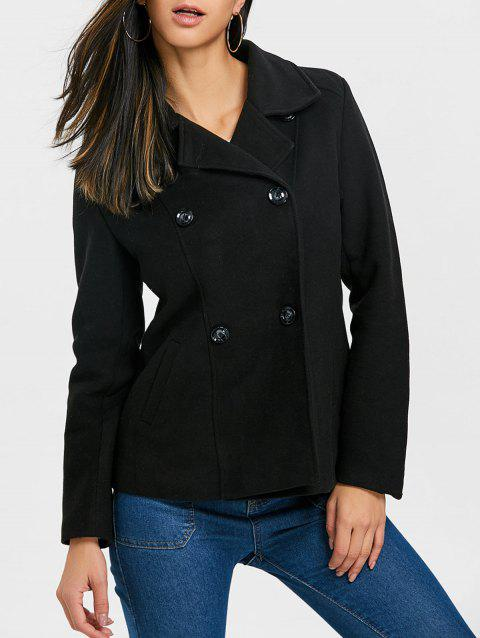 Double-breasted Lapel Collar Coat - BLACK M