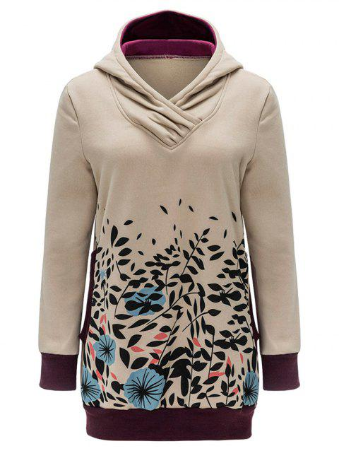 Leaves and Flower Print Tunic Hoodie - KHAKI 2XL