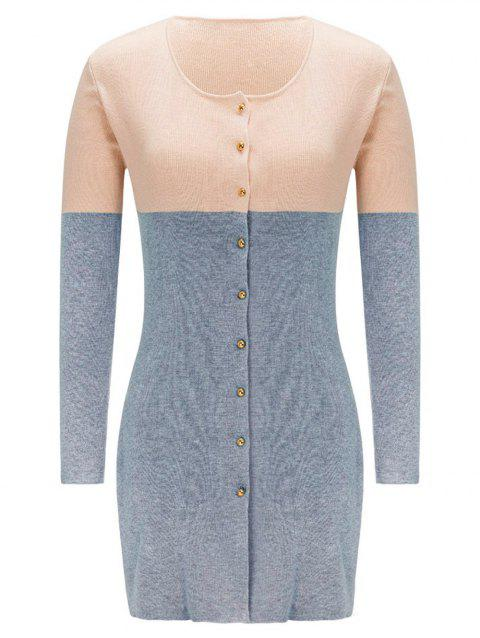 Button Up Contrast Color Cardigan - GRAY L