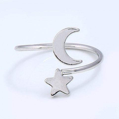 Metal Moon and Star Shap Cuff Ring - SILVER ONE-SIZE
