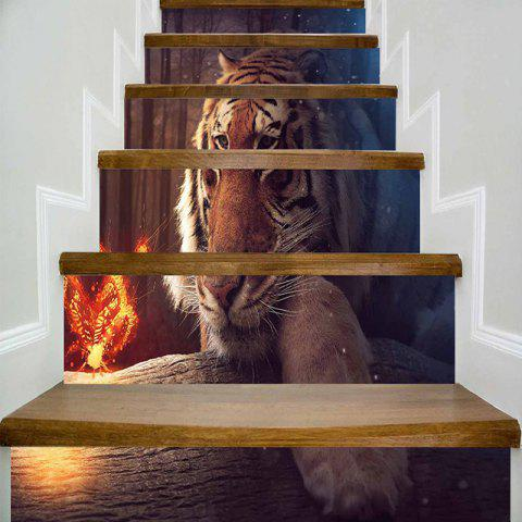 Tiger and Butterfly Print DIY Decorative Stair Stickers - TIGER 100*18CM*6PCS