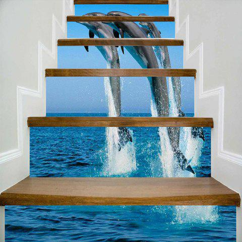 Jumping Dolphins Print Decorative DIY Stair Stickers - BLUE 100*18CM*6PCS