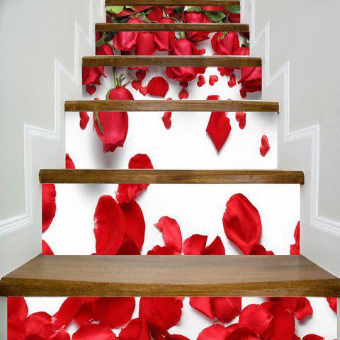 Autocollants d'Escaliers Colorés Motif Roses pour Saint Valentin - Rose Rouge 100*18CM*6PCS
