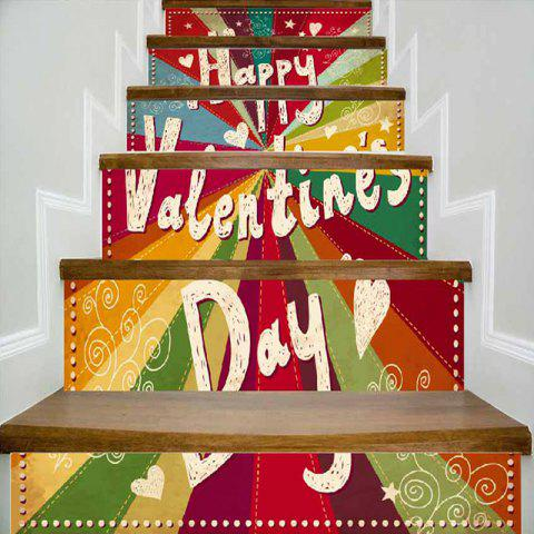 Valentine's Day Pattern Colorful Stair Riser Stickers - COLORFUL 100*18CM*6PCS
