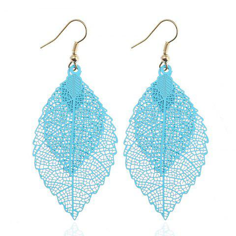 Leaf Shap Hollow Out Drop Earrings - SKY BLUE