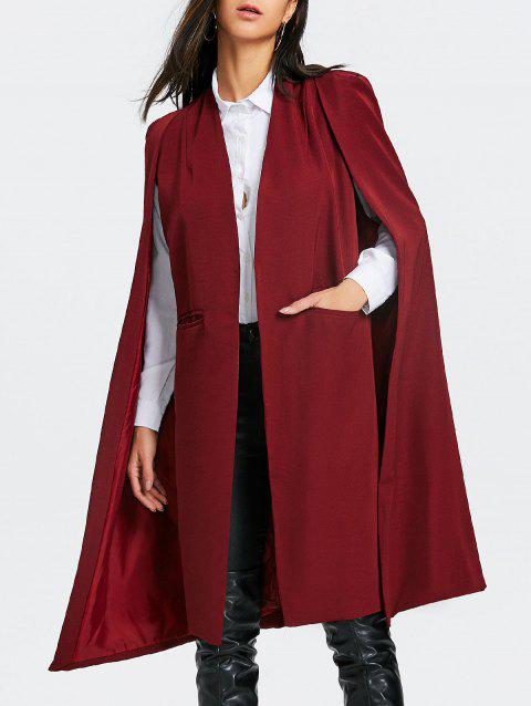Manteau Long Cape à Fente à Poches - Rouge vineux XL