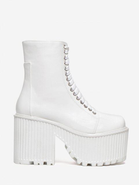 Platform Lace Up Short Boots - WHITE 36
