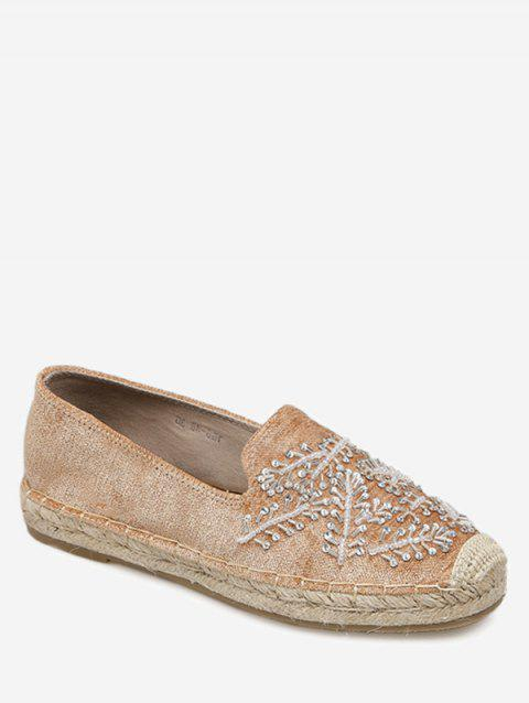 Embellished Round Toe Espadrille Flats - LIGHT BROWN 40