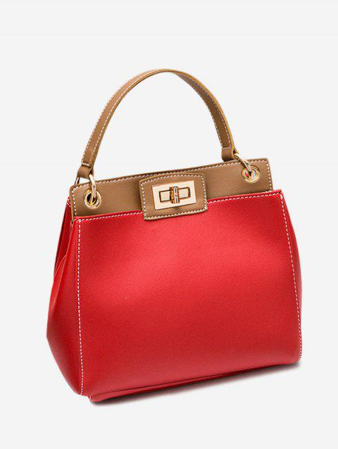 Color Block Twist Lock PU Leather Handbag - RED