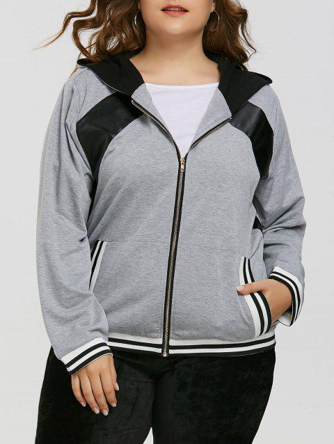Zipper Faux Leather Insert Plus Size Hoodie - GRAY 4XL