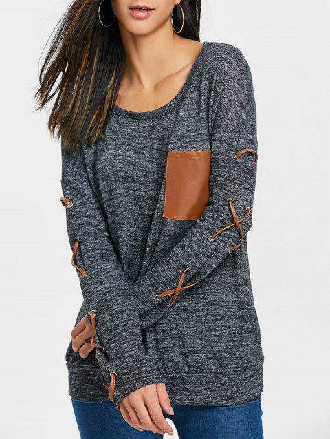Heathered Lace Up Sleeve Top - BLACK M