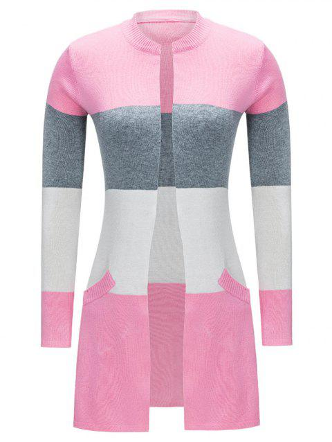 Open Front Color Block Cardigan - PINK M
