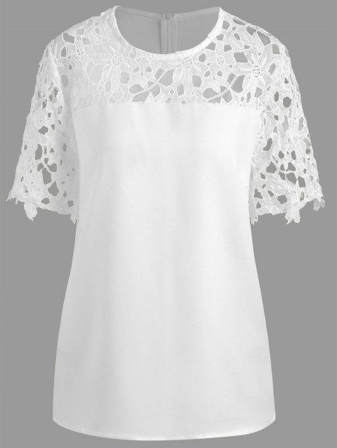 Plus Size Openwork Lace Insert Top - WHITE 4XL