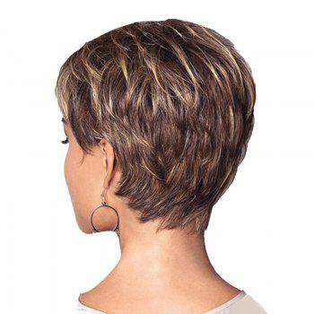 Short Side Bang Layered Straight Colormix Synthetic Wig - COLORMIX