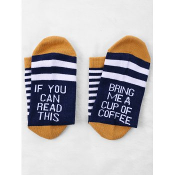 Pair Of Letter Printed Graphic Contrast Socks - CADETBLUE
