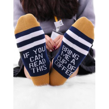 Pair Of Letter Printed Graphic Contrast Socks - CADETBLUE CADETBLUE