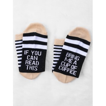 Pair Of Letter Printed Graphic Contrast Socks - BLACK