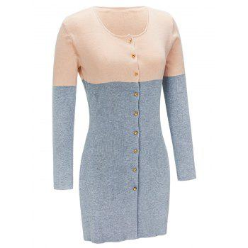 Button Up Contrast Color Cardigan - GRAY XL