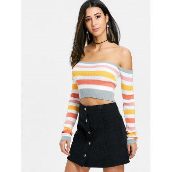 Colored Stripes Off The Shoulder Sweater - GREYISH GREEN ONE SIZE