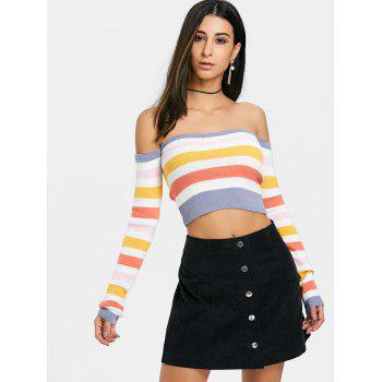 Colored Stripes Off The Shoulder Sweater - BLUE GRAY ONE SIZE