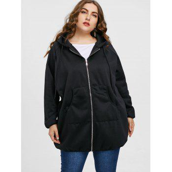 Plus Size  Zip Up Graphic Long Hoodie - BLACK 3XL