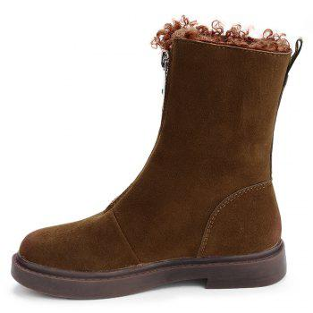 Faux Suede Flat Heel Mid-Calf Boots - BROWN 38