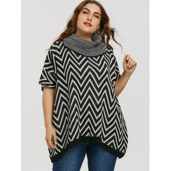 Turtleneck Plus Size Chevron Sweater - BLACK ONE SIZE
