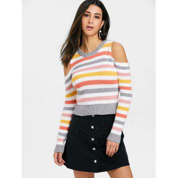 Cold Shoulder Colorful Striped Sweater - COLORMIX ONE SIZE