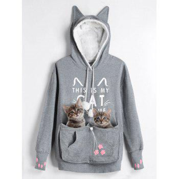 Plus Size Cat Kangaroo Pouch Pocket Hoodie
