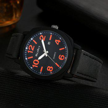 Faux Leather Strap Number Date Watch - RED