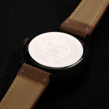 Faux Leather Strap Number Date Watch - BROWN