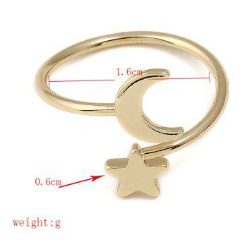 Metal Moon and Star Shap Cuff Ring - GOLDEN ONE-SIZE