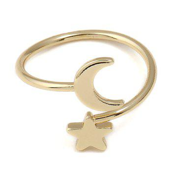 Metal Moon and Star Shap Cuff Ring - GOLDEN GOLDEN